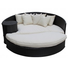 Taiji Espresso Outdoor Rattan Daybed with Ottoman with White Cushions