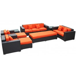 Eclipse Outdoor Rattan 9 Piece Set in Espresso with Orange Cushions