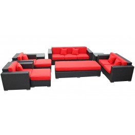 Eclipse Outdoor Rattan 9 Piece Set in Espresso with Red Cushions