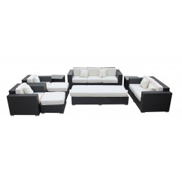 Eclipse Outdoor Rattan 9 Piece Set in Espresso with White Cushions