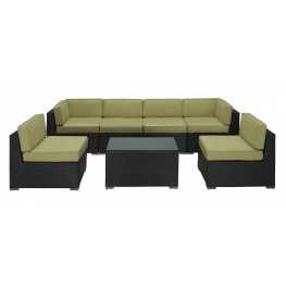 Aero Outdoor Rattan 7 Piece Set in Espresso with Peridot Cushions