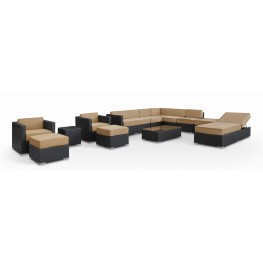 Fusion Outdoor Rattan 12 Piece Set in Espresso with Mocha Cushions