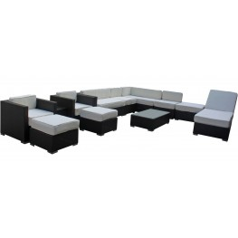 Fusion Outdoor Rattan 12 Piece Set in Espresso with White Cushions