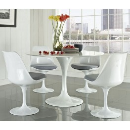 Lippa Gray 5 Piece Fiberglass Dining Set
