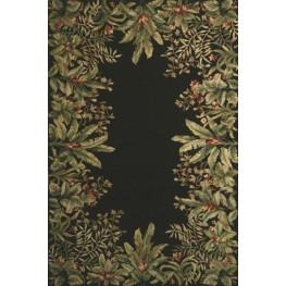 "Emerald Black Tropical Border 99"" X 63"" Rug"