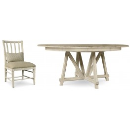 Echo Park Aged Canvas Round Extendable Dining Room Set