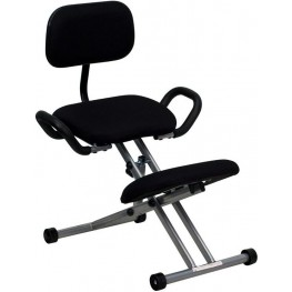 Ergonomic Black with Back and Handles Kneeling Chair
