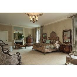 Platine de Royale Antique Platinum Brown Fabric Panel Bedroom Set