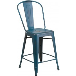24Inch High Distressed Kelly Blue Indoor-Outdoor Counter Chair