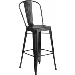 Bistro 30Inch High Distressed Black Indoor-Outdoor Bar Stool (Min Order Qty Required)