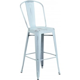 Bistro 30Inch High Distressed Dream Blue Indoor-Outdoor Bar Stool