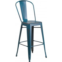 30Inch High Distressed Kelly Blue Indoor-Outdoor Bar Stool