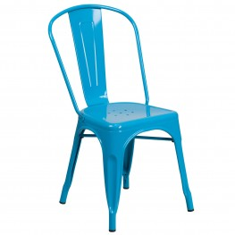 Crystal Blue Indoor-Outdoor Stackable Chair (Min Order Qty Required)
