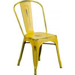 Distressed Yellow Indoor-Outdoor Stackable Chair