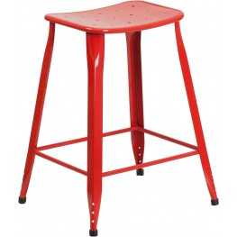 Industrial 24Inch High Red Indoor-Outdoor Counter Chair