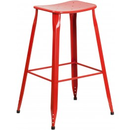 Industrial 30Inch High Red Indoor-Outdoor Bar Stool (Min Order Qty Required)