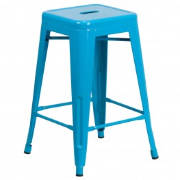 24Inch High Backless Crystal Blue Indoor-Outdoor Counter Chair