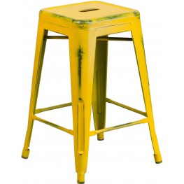 24Inch High Backless Distressed Yellow Indoor-Outdoor Counter Chair (Min Order Qty Required)