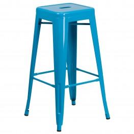 30Inch High Backless Crystal Blue Indoor-Outdoor Bar Stool