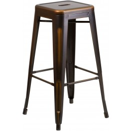 30Inch High Backless Distressed Copper Indoor-Outdoor Bar Stool