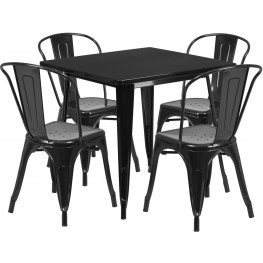 31.5Inch Square Black Indoor-Outdoor Table Set with 4 Stack Chairs