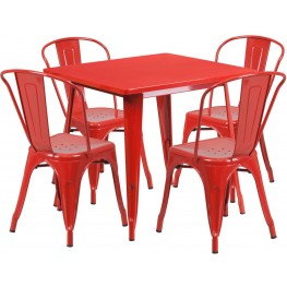 31.5Inch Square Red Indoor-Outdoor Table Set With 4 Stack Chairs (Min Order Qty Required)