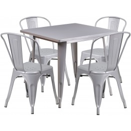 31.5Inch Square Silver Indoor-Outdoor Table Set with 4 Stack Chairs