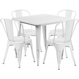 31.5Inch Square White Indoor-Outdoor Table Set With 4 Stack Chairs (Min Order Qty Required)