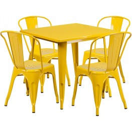 31.5Inch Square Yellow Indoor-Outdoor Table Set with 4 Stack Chairs