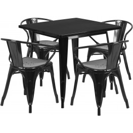 31.5Inch Square Black Indoor-Outdoor Table Set With 4 Arm Chairs (Min Order Qty Required)