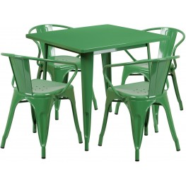 31.5Inch Square Green Indoor-Outdoor Table Set With 4 Arm Chairs (Min Order Qty Required)