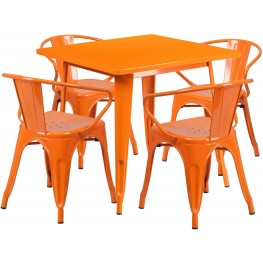 31.5Inch Square Orange Indoor-Outdoor Table Set with 4 Arm Chairs