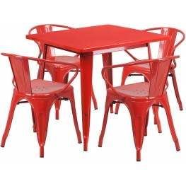 31.5Inch Square Red Indoor-Outdoor Table Set with 4 Arm Chairs