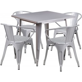 31.5Inch Square Silver Indoor-Outdoor Table Set with 4 Arm Chairs