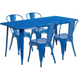 63Inch Rectangular Blue Indoor-Outdoor Table Set with 4 Stack Chairs
