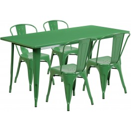 63Inch Rectangular Green Indoor-Outdoor Table Set with 4 Stack Chairs