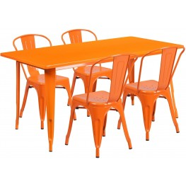 63Inch Rectangular Orange Indoor-Outdoor Table Set With 4 Stack Chairs (Min Order Qty Required)