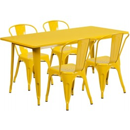 63Inch Rectangular Yellow Indoor-Outdoor Table Set With 4 Stack Chairs (Min Order Qty Required)
