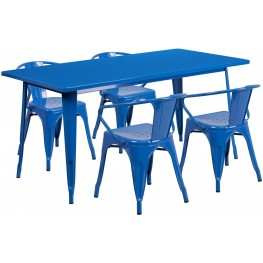 63Inch Rectangular Blue Indoor-Outdoor Table Set With 4 Arm Chairs (Min Order Qty Required)