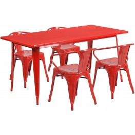 63Inch Rectangular Red Indoor-Outdoor Table Set with 4 Arm Chairs