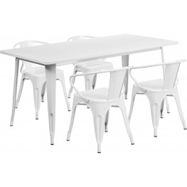 63Inch Rectangular White Indoor-Outdoor Table Set with 4 Arm Chairs