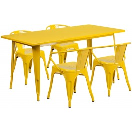 63Inch Rectangular Yellow Indoor-Outdoor Table Set with 4 Arm Chairs