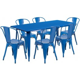 63Inch Rectangular Blue Indoor-Outdoor Table Set with 6 Stack Chairs