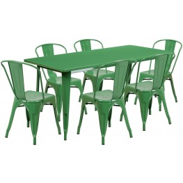 63Inch Rectangular Green Indoor-Outdoor Table Set With 6 Stack Chairs (Min Order Qty Required)
