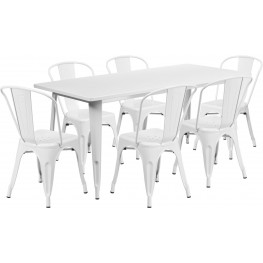 63Inch Rectangular White Indoor-Outdoor Table Set with 6 Stack Chairs
