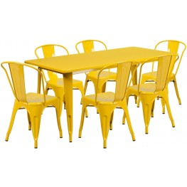 63Inch Rectangular Yellow Indoor-Outdoor Table Set with 6 Stack Chairs