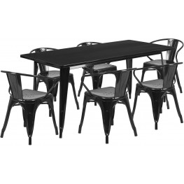 63Inch Rectangular Black Indoor-Outdoor Table Set With 6 Arm Chairs (Min Order Qty Required)