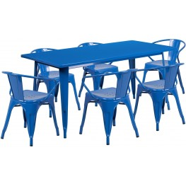 63Inch Rectangular Blue Indoor-Outdoor Table Set With 6 Arm Chairs (Min Order Qty Required)