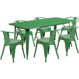 63Inch Rectangular Green Indoor-Outdoor Table Set with 6 Arm Chairs