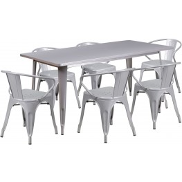 63Inch Rectangular Silver Indoor-Outdoor Table Set With 6 Arm Chairs (Min Order Qty Required)